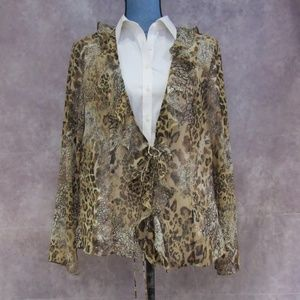 Coldwater Creek Brown & Tan Animal Print Kimono